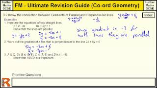 Coordinate Geometry (Gradient of parallel and Perp) Ultimate revision guide for Further maths GCSE