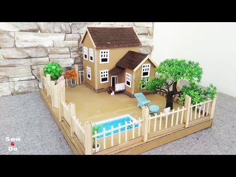 Building  Cardboard Dream House With Fairy Garden And Pool - Easy Crafts Ideas