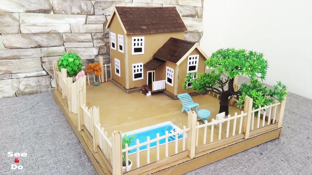 Building Cardboard Dream House With Fairy Garden And Pool
