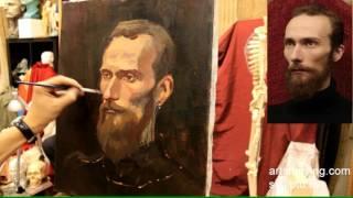 Портрет бородатого мужчины - Обучение живописи. Портрет, 40 серия