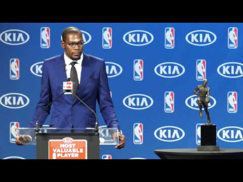 Kevin Durant answers Berry Tramel's Question at MVP Press Conference