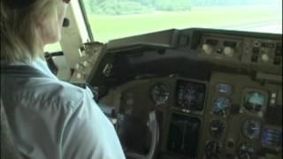 Female 757 Captain landing at Zurich