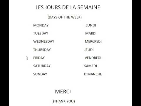 DAYS OF THE WEEK IN FRENCH - YouTube