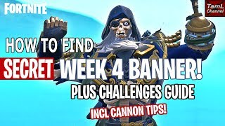 How to Find SECRET Week 4 Banner Plus Challenge Tips! (Fortnite Battle Royale)