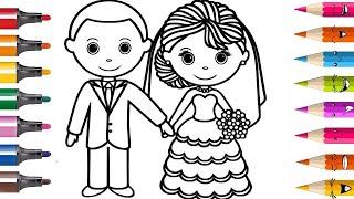 DESSINER et COLORIER Robe de mariée mariage & Planète coloriage