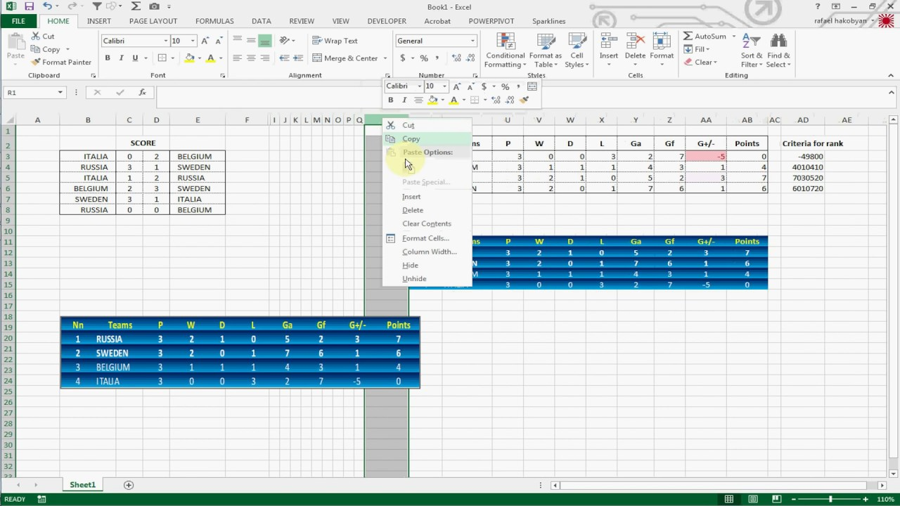 How To Create Football League Table In Excel 2013 Youtube