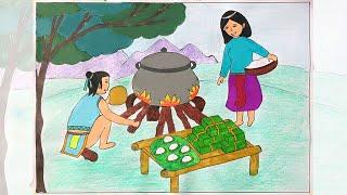 Vẽ tranh minh hoạ truyện cổ tích   Vẽ tranh truyện cổ tích   Vẽ truyện cổ tích bánh chưng bánh dày
