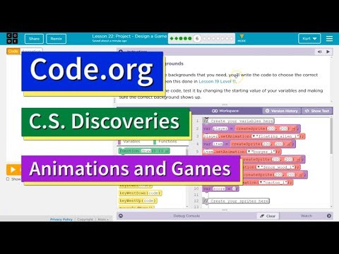 Design a Game Lesson 22 Puzzle 6 Animation and Games Code org Tutorial