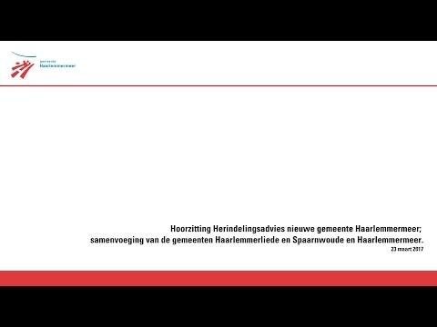 Hoorzitting Herindelingsadvies nieuwe gemeente Haarlemmermeer