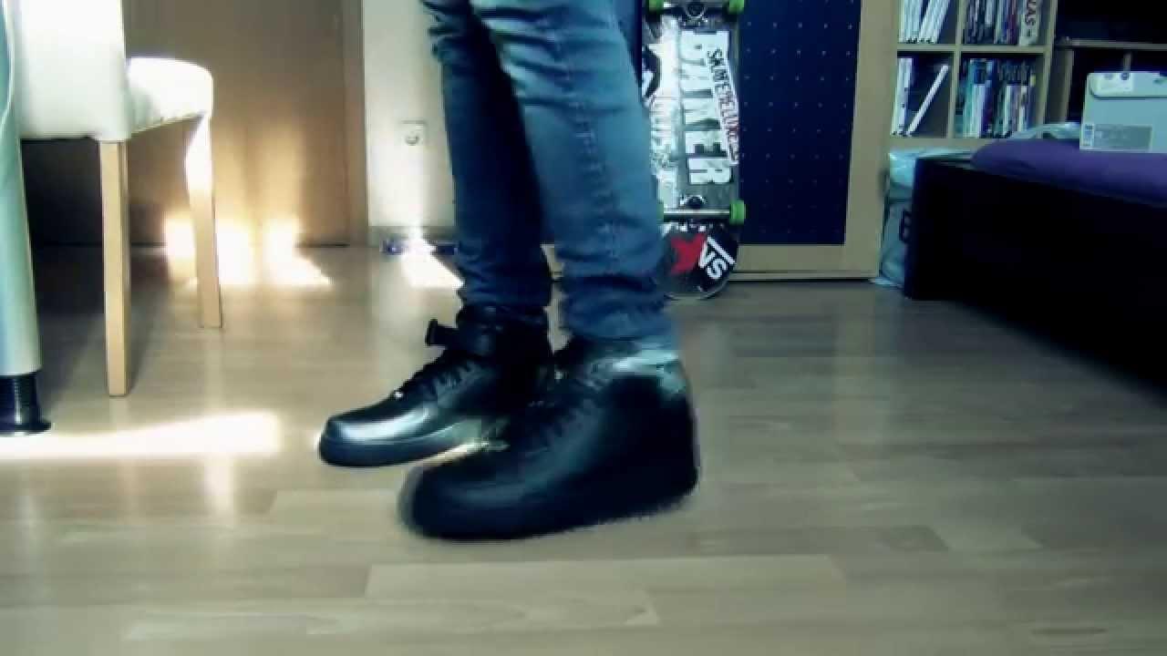 sale retailer 01c47 ede2a Nike Air Force 1 Mid BLACK - On Feet