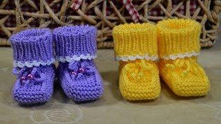 Пинетки спицами (от 0 до 1года). Простая модель.  Knitting Baby booties