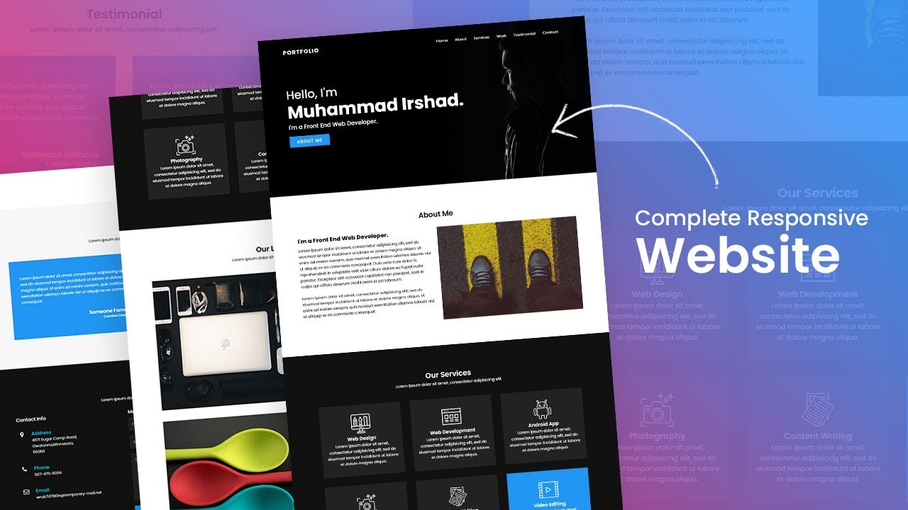 Build a Complete Responsive Personal Portfolio Website using Html CSS & Javascript from Scratch