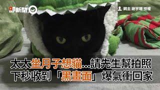 太太思念黑貓 請先生幫拍照 竟收到黑畫面 爆氣衝回家|寵物