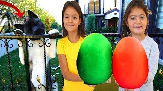 Masal & Öykü playing fun with slime - Giant Surprise Eggs