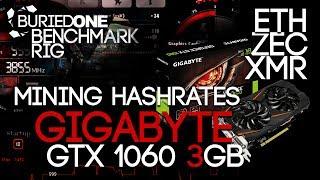 Gigabyte GTX 1060 3GB Crypto Mining Benchmarks: ETH/ZEC/XMR