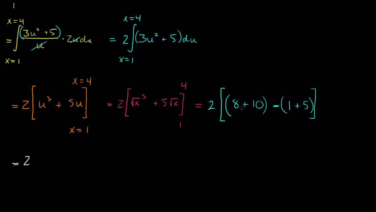 7.4 - Bestemte integraler 2 - Substitusjon, to metoder (R2)
