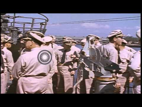 Officers greeting and discussing with each other at the deck of the USS Sea Dog a...HD Stock Footage