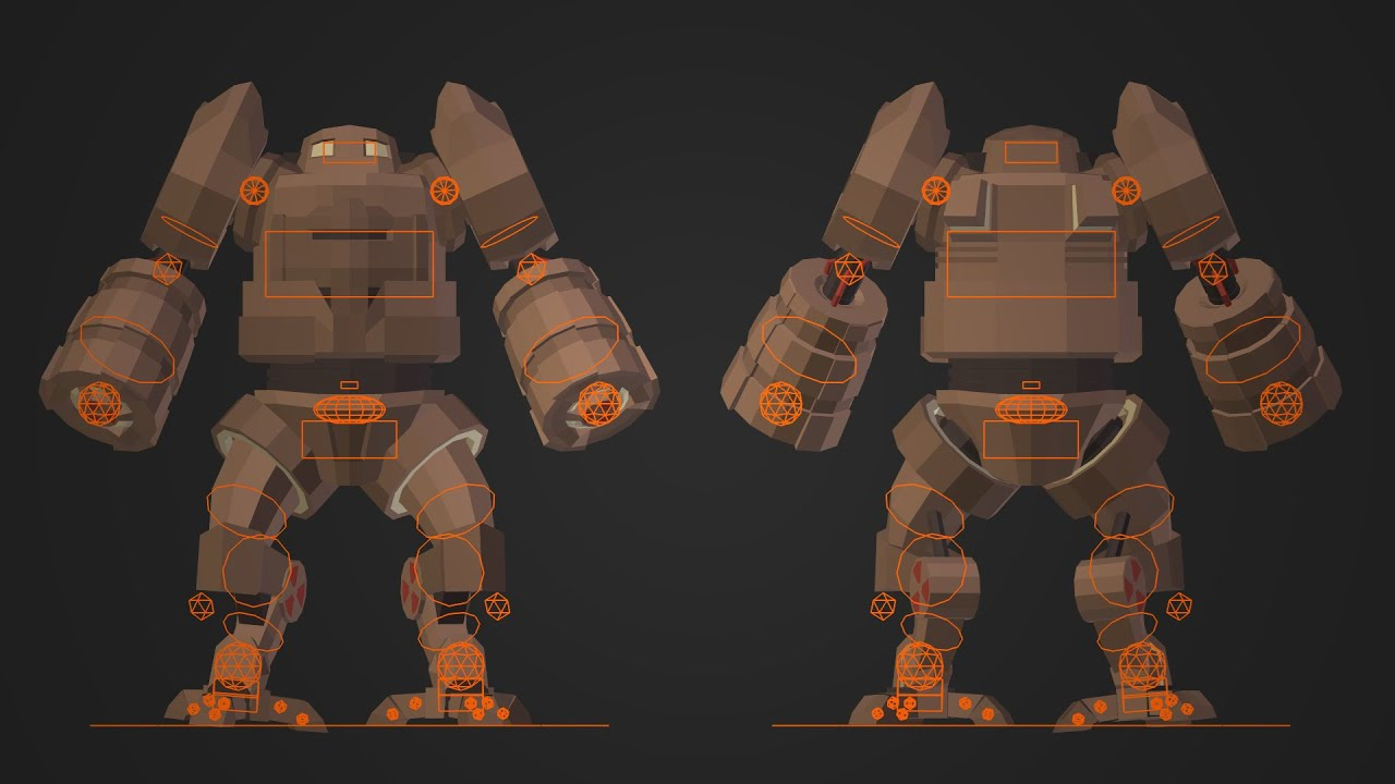 PigArt BLENDER Low Poly Mech Rig Preview YouTube