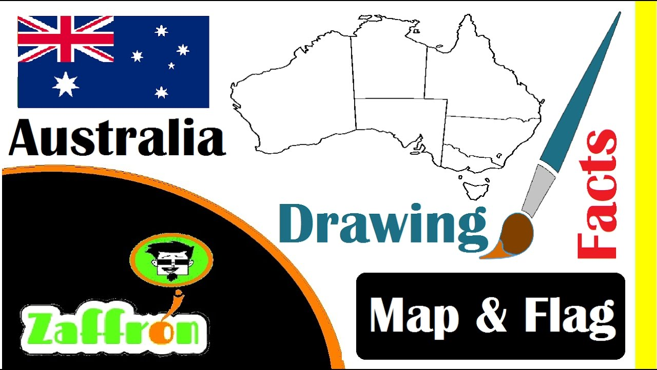 Australia Map Video.Learn Australia Country Facts Geography Map Flag Drawings حقائق أستراليا 国の事実と地理 Zaffron