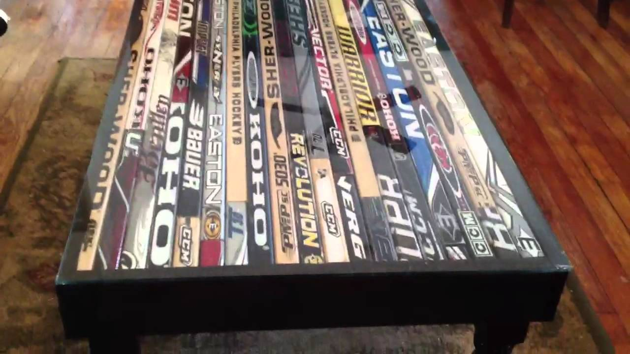 Hockey stick coffee table - YouTube