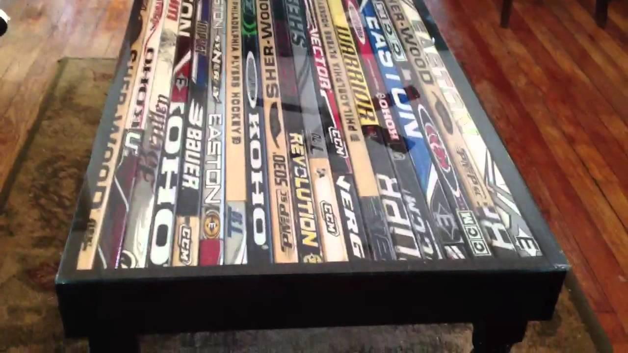 Hockey stick coffee table - YouTube
