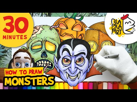 HOW TO DRAW MONSTERS episode 2 | Halloween Cartoon Drawings Compilation | BLABLA ART