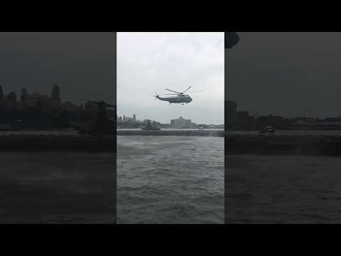 Marine One Landing at South St Heliport NYC