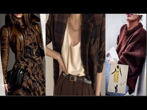 Сочетание коричневого цвета в одежде для женщин за 50.Весна2020
