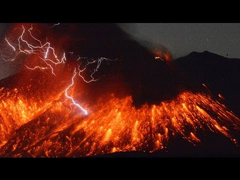 Watch: Volcanic lightning
