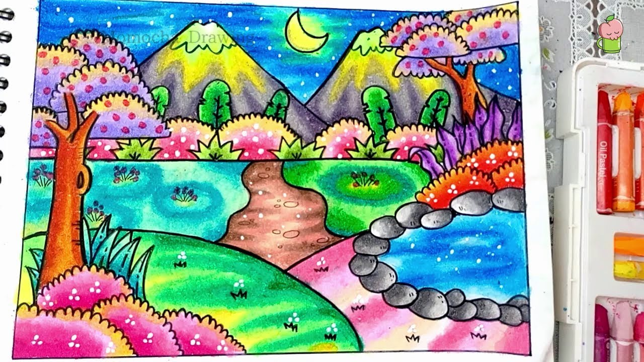 Night Scenery How To Draw And Color With Oil Pastel