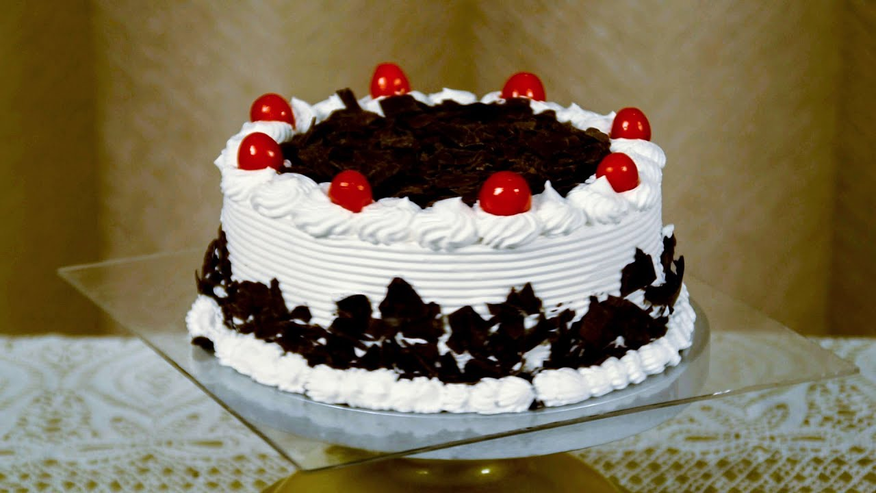 Eggless Black Forest Cake Recipe Easy Fresh Cream Cake Frosting Youtube