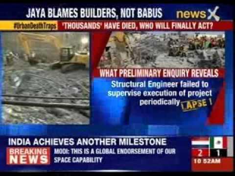 Chennai building collapse, Jayalalithaa blames builder