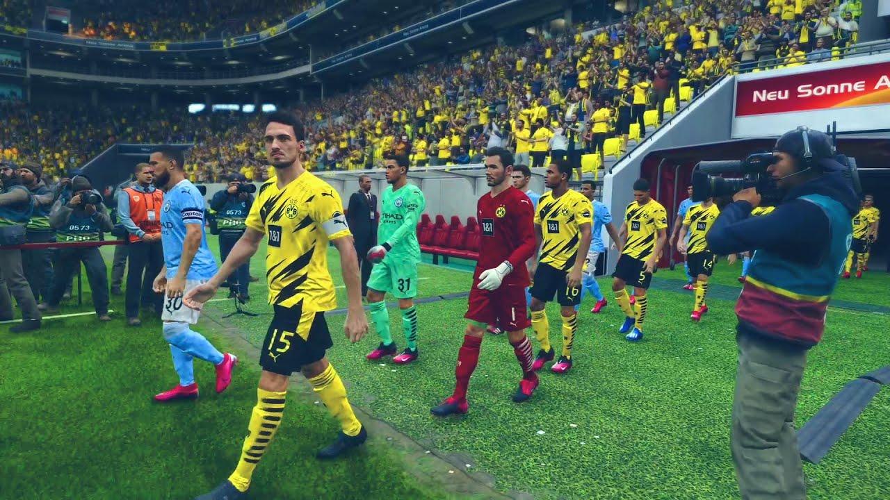 PES 2021 Realistic Highlights: Dortmund vs Manchester city ...