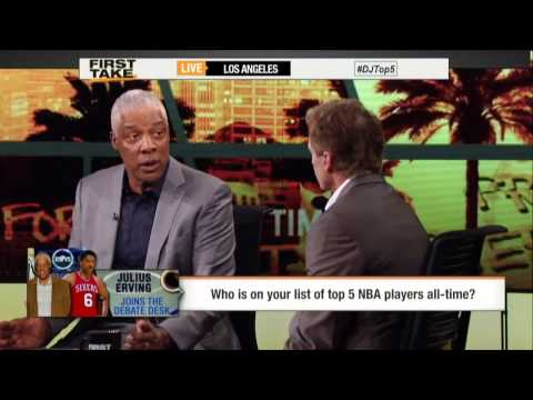 First Take - Dr. J Lists His All-Time Top 5 NBA Players
