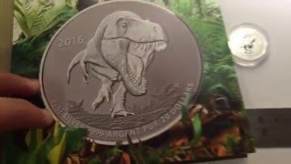 $20 T-Rex Silver Coin from Royal Canadian Mint - HD