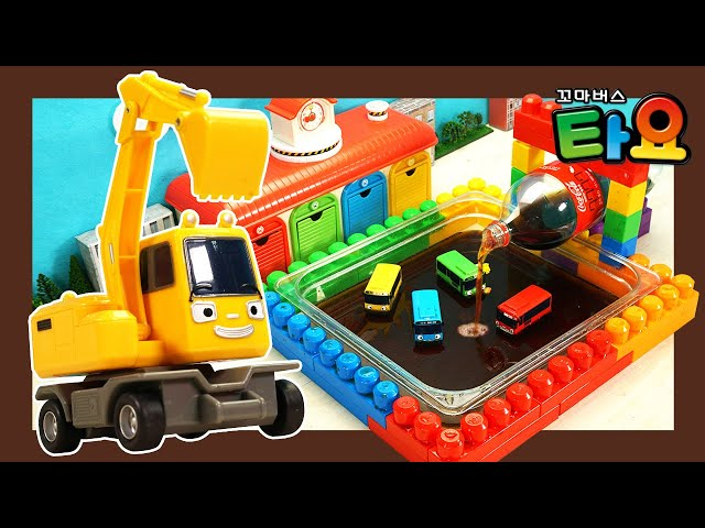 Color swimming pool filled with Coca Cola! l Tayo Heavy Vehicles Lego Play l Tayo the Little Bus