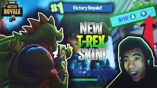 WINNING MY FIRST FORTNITE SOLO GAME WITH THE NEW REX SKIN! FORTNITE BATTLE ROYALE GAMEPLAY