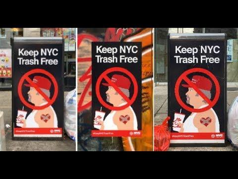 Afiches satíricos anti votantes de Trump en Nueva York