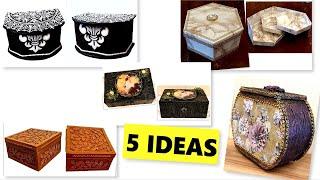 DIY/5 Best cardboard boxes ideas/ Jewelry Boxes /Cardboard craft