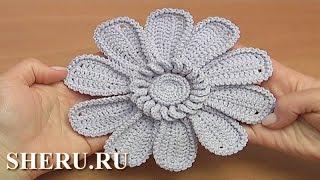 Цветок с длинными лепестками, ДЕМО Урок 111 How to Crochet Flower with Big Petals