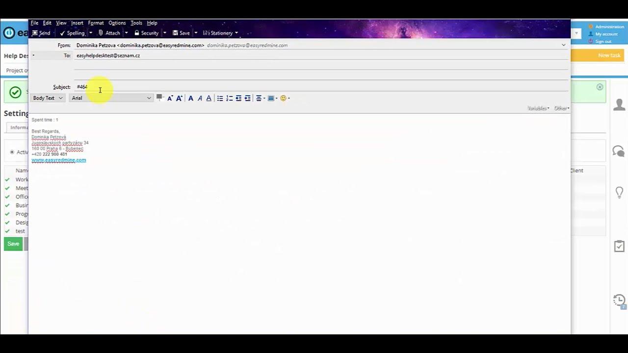 How to log time via email- Easy Redmine