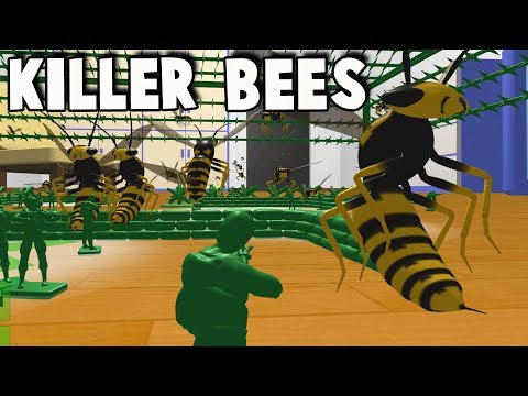Army Men Fort vs KILLER BEES Attack! (Home Wars Gameplay Par