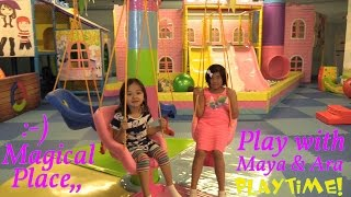 vuclip Family Indoor Playground Playtime! Hanging Kiddie Swing, Slides, Octopus Carousel, etc...