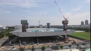 [Tokyo 2020 Games] Tokyo Aquatics Centre Time-Lapse Movie (Roof Lifted-up)