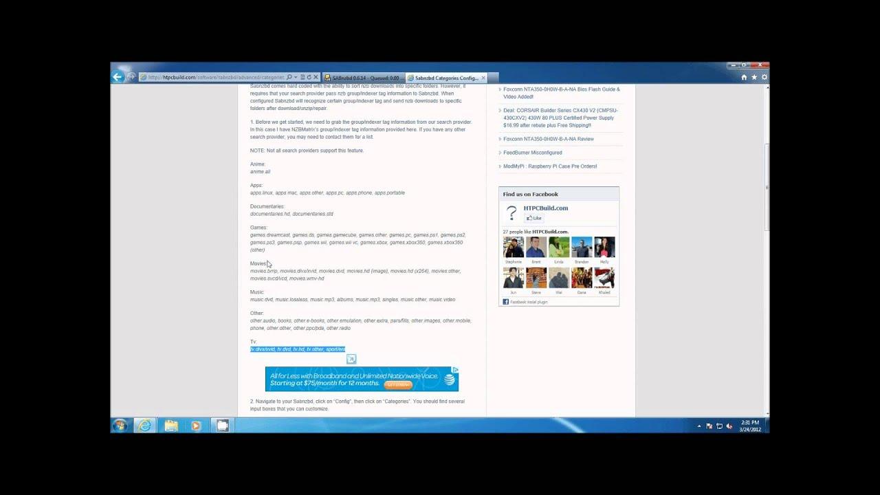 Sabnzbd Categories Configuration - HTPCBuild com