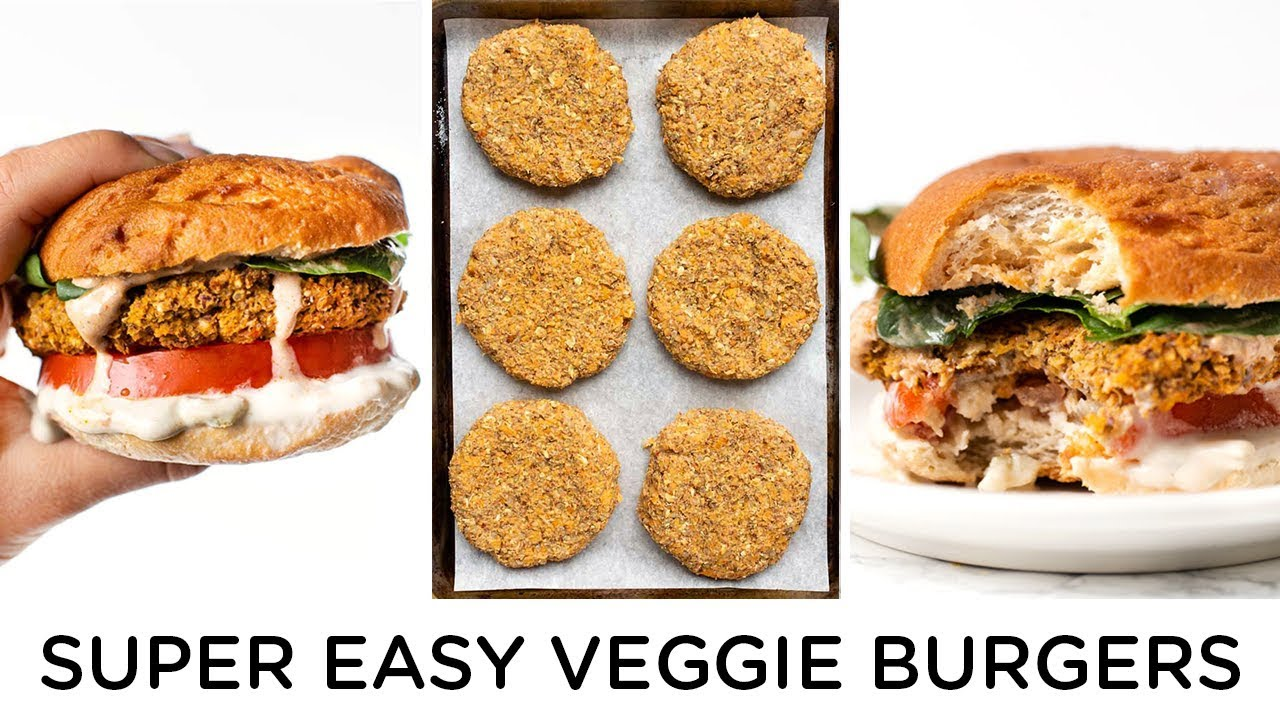 SUPER EASY VEGGIE BURGERS ‣‣ with Butternut Squash & White Beans