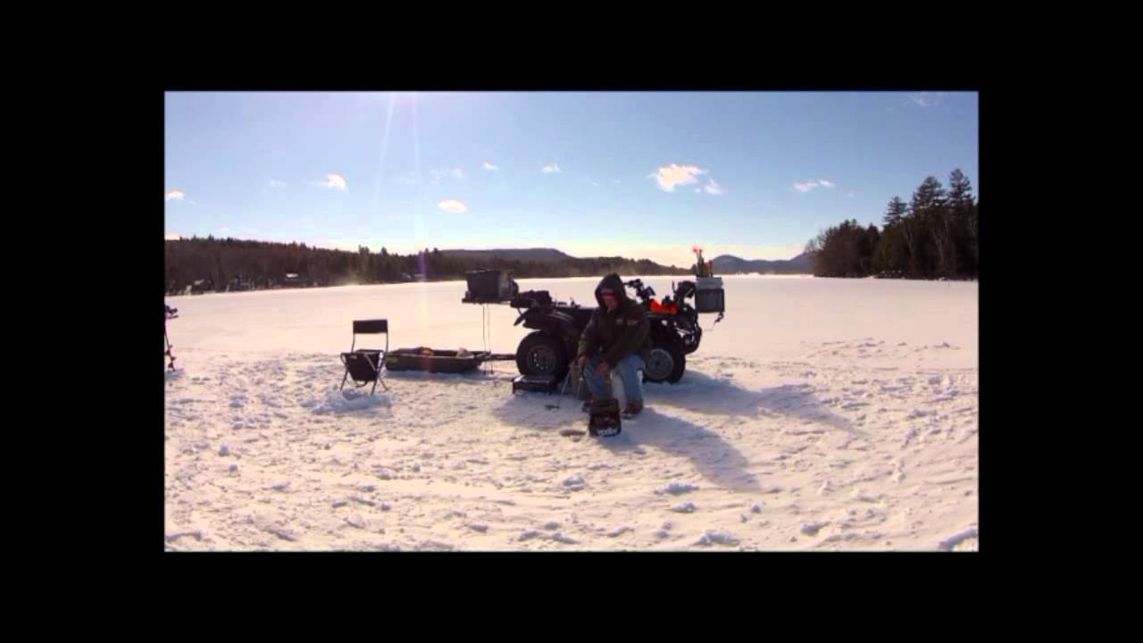 Ice fishing 2 5 13 lake pleasant speculator ny youtube for Lake pleasant fishing report
