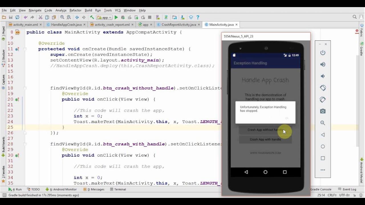 Android Handling App Crash