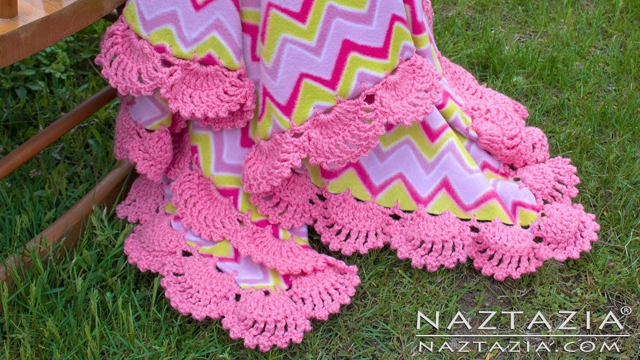 Learn how to crochet scallops on fleece blanket lace edge border learn how to crochet scallops on fleece blanket lace edge border edging trim on fabric bankloansurffo Images