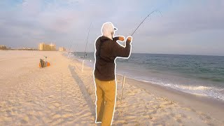 Early Spring Pompano Run Surf Fishing